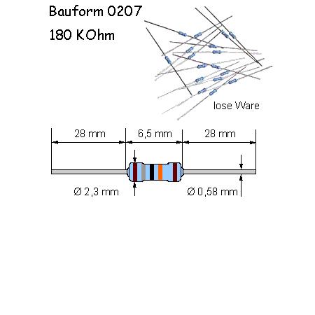 Metallschicht-Widerstand 1,1 MOhm 1/% 0,6W Bauform 0207 gegurtet