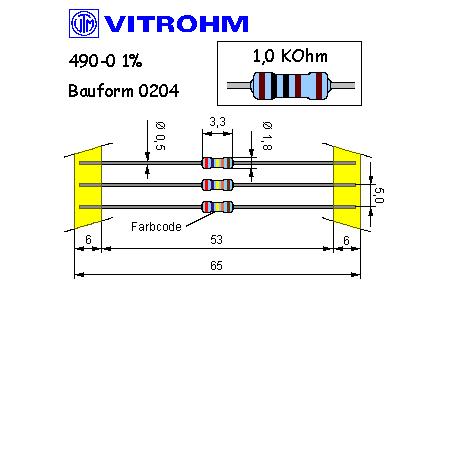 Metallschicht-Widerstand 8,2 kOhm 1/% 0,4W Bauform 0204 gegurtet