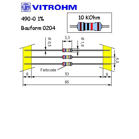 Metallschicht-Widerstand 3,3 kOhm 1/% 0,4W Bauform 0204 gegurtet