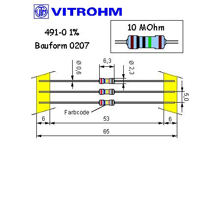 Metallschicht-Widerstand 4,7 MOhm 1/% 0,6W Bauform 0207 gegurtet